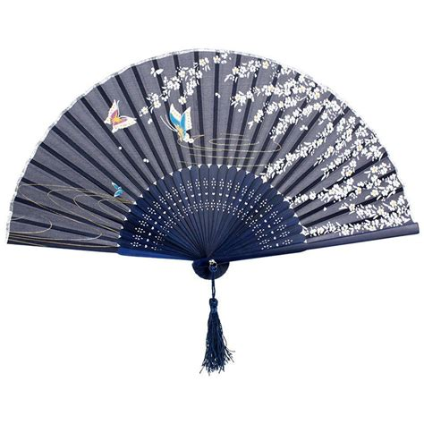 Fancy Fans | navy blue chinese bamboo folding fans butterfly print handheld fancy fan dancing japanese