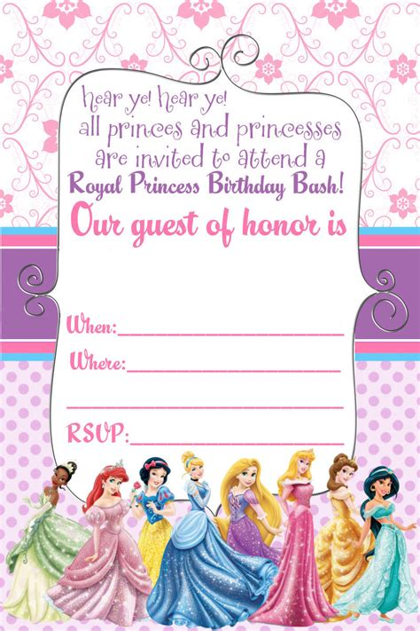 princess birthday card template free disney princess invitation and thank you card