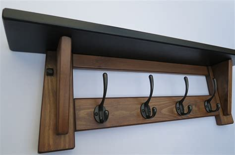Handmade Wooden Coat Rack - handmade wooden hat and coat rack 4 hooks black shelf