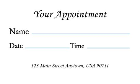 appointment cards design templates symbol doctor appointment card design 301071
