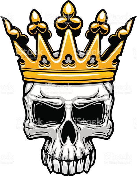king skull in royal gold crown stock vector art amp more