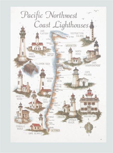 map of oregon lighthouses west coast lighthouses map bev s studio inc west