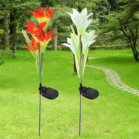solar color changing lights outdoor solar 4 led flower light outdoor garden lawn color