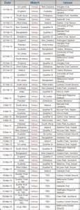 Icc World Cup 2015 Time Table by Icc Cricket World Cup 2015 Match Schedule Time Table