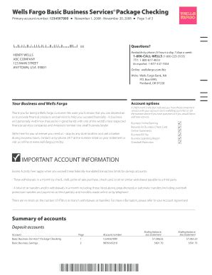 Wells Fargo Statement Of Account Fill Online Printable Fillable Blank Pdffiller Fargo Bank Statement Template