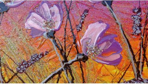 quadri astratti fiori fiori lilla al tramonto vendita quadri quadri