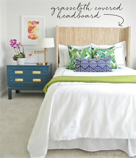 covered headboard diy grasscloth covered headboard centsational girl