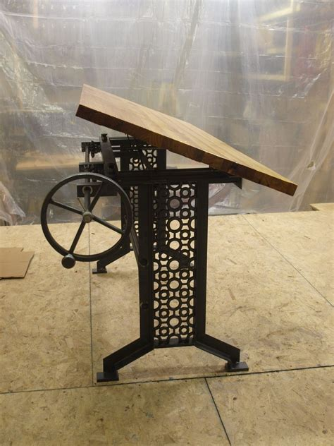 Hand Made Industrial Drafting Desk With Reclaimed Wood Top Custom Drafting Table