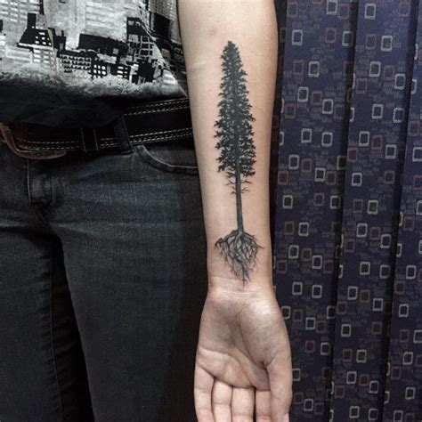 pine tree wrist tattoo best 25 tree arm ideas on tree tattoos