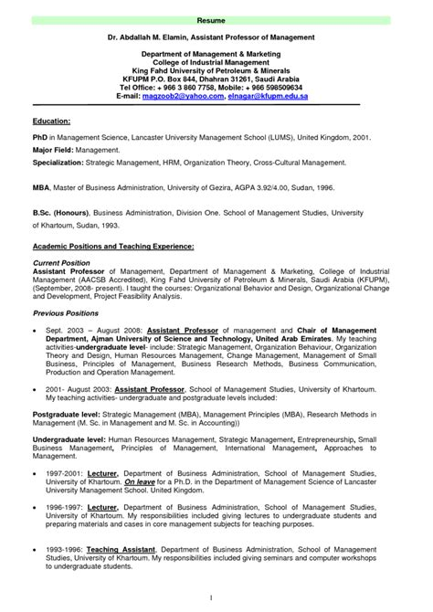 Resume Cv Professor Assistant Professor Resume Exle Resumes Design