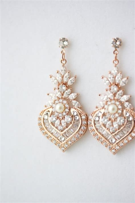 braut ohrringe tropfen rose gold earrings bridal earrings rose gold crystal