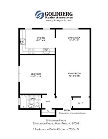 floor plans for 55 monroe place apartments located in 55 monroe place apts rentals bloomfield nj apartments com