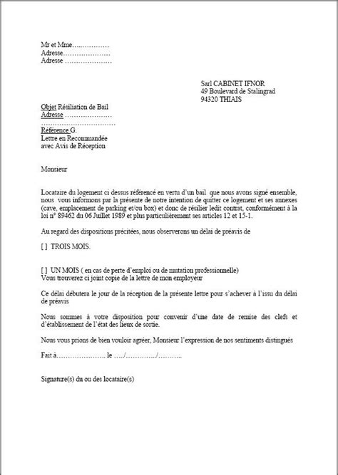Lettre De Resiliation Orange Professionnel Modele Resiliation Bail Preavis Un Mois Document