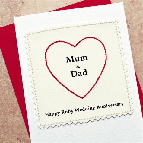 personalised ruby anniversary card by jenny arnott cards