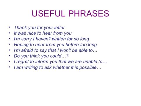 Useful Phrases For Informal ppt an informal letter