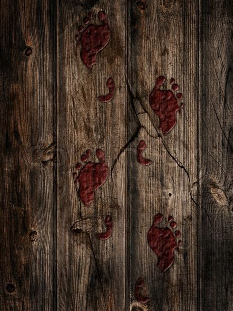 Bloody footprints on a wooden floor   Stock Photo   Colourbox