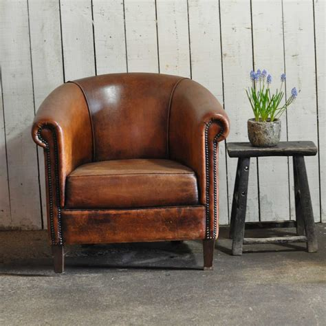 Armchair Club by Vintage Worn Leather Club Chair With Arms