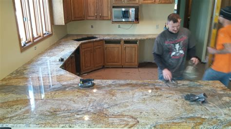 Installing Granite Countertop by Completed Kitchen Countertops The Granite