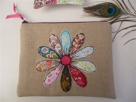 Handmade Purse Designs - handmade cosmetic makeup bag purse flower applique