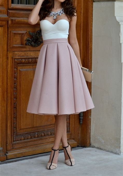 pink plain pleated skater flared vintage high waisted knee