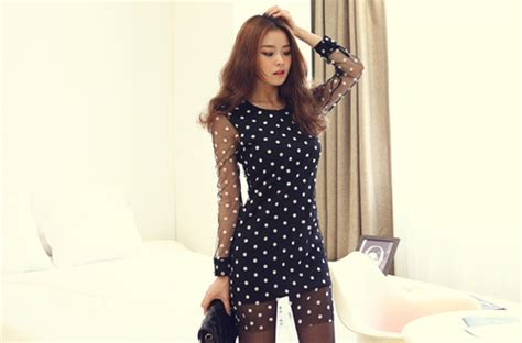 Noble Style Dress noble style collar lace dot pattern see through
