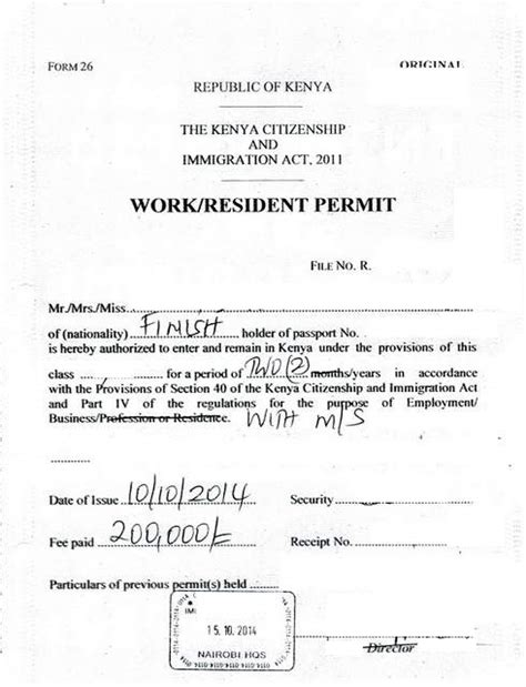 Support Letter Work Permit Eregulations Kenya