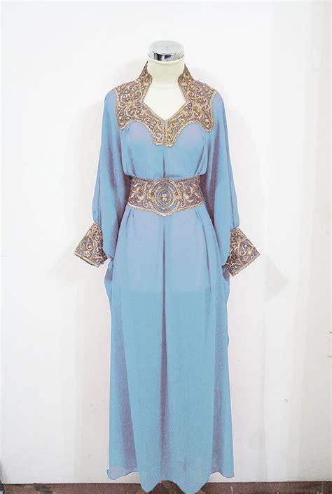 Abaya Tiara Blue Gold Moroccan Caftan Baby Blue Sheer Chiffon Fancy Gold