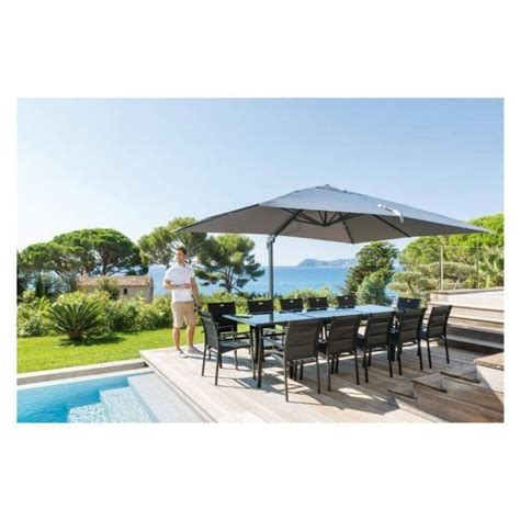Parasol Rectangulaire Inclinable Pas Cher by Parasol Decentre Rectangulaire Fresno Gris Achat Vente