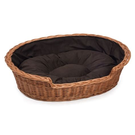 wicker dog bed prestige wicker oval dog bed basket large with dark cushion