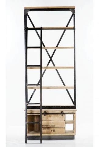 Industrial Bookcase With Ladder Industrial Large Bookcase With Ladder