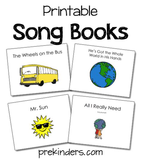 printable pictures of books song books prekinders