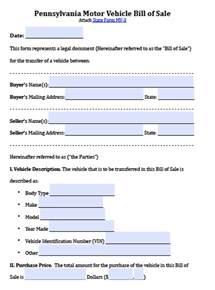 free pennsylvania motor vehicle bill of sale form pdf