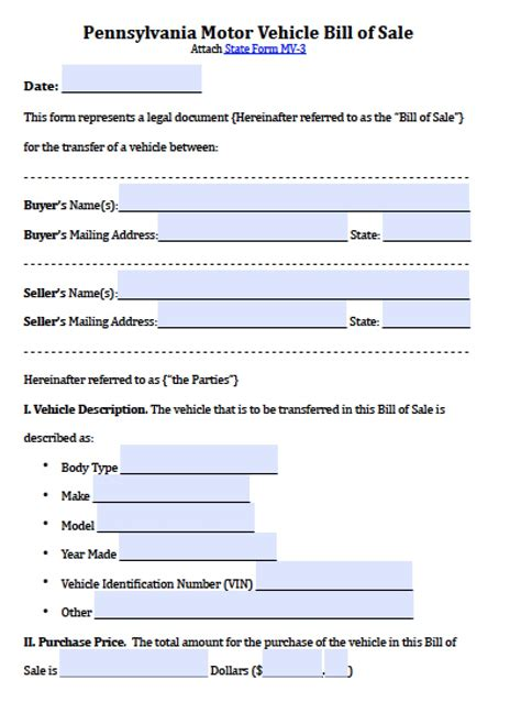 Free Pennsylvania Motor Vehicle Bill Of Sale Form Pdf Word Doc Vehicle Bill Of Sale Template Fillable Pdf