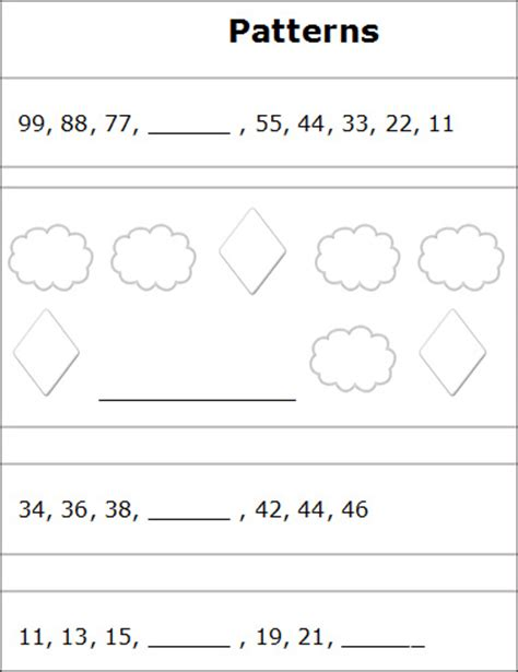 number pattern activities for grade 2 pattern worksheets 187 number pattern worksheets grade 3
