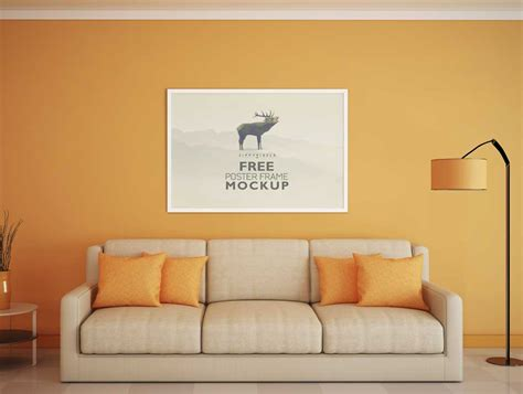 couch scene beautiful poster frame above living room couch scene psd