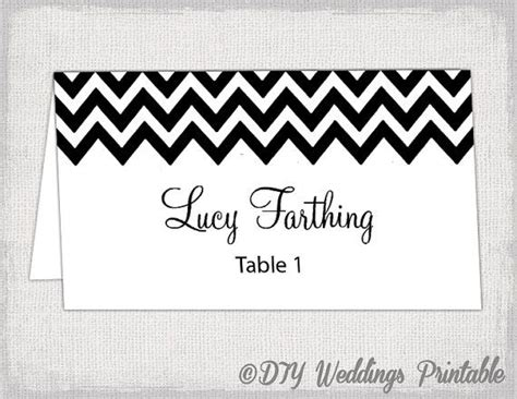 Black And White Place Cards Template by Black Place Card Template Quot Chevron Quot Name Cards Diy