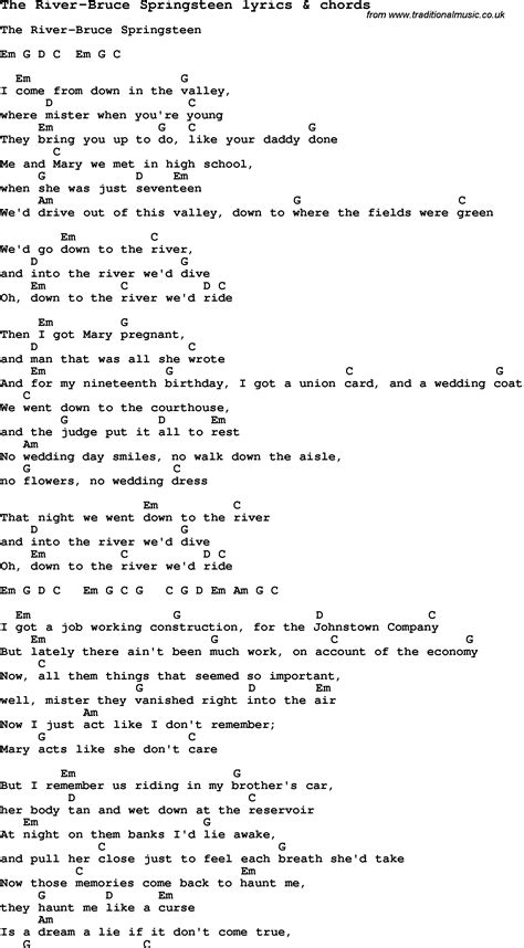 lyrics bruce springsteen song lyrics for the river bruce springsteen with chords