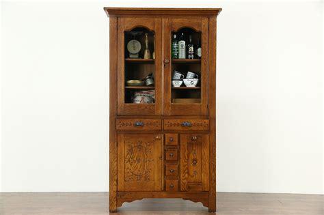 sold victorian eastlake  antique oak pantry cabinet kitchen cupboard flour bin harp gallery