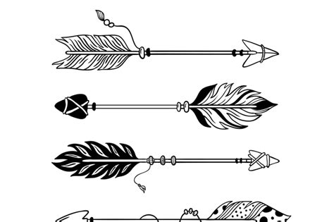 ethnic arrows hand drawn feather arrow tribal feathers