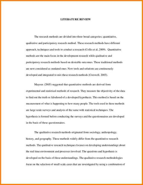 research literature review template 7 literature review sle in research