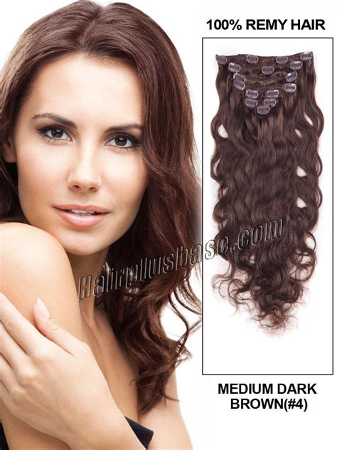 medium chocolate brown hair extensions remy indian hair 16 inch 4 medium brown clip in indian remy human hair extensions fascinating wave 7 pcs