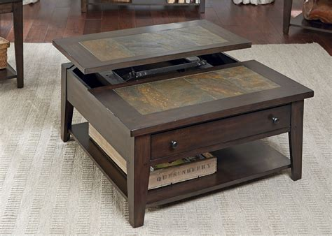 famous coffee table hearthstone dark rustic oak lift top cocktail table from