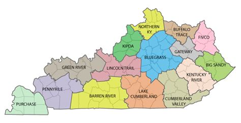 kentucky economic map kentucky area development districts kaed