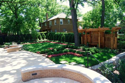 large modern backyard landscaping house design with green