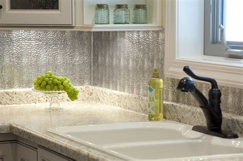 hammered metal sheets backsplash kitchen