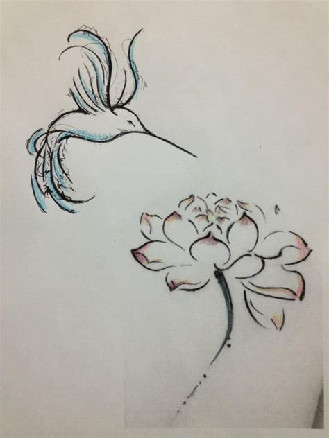 hummingbird outline tattoo hummingbird w peony lower side of back or lower