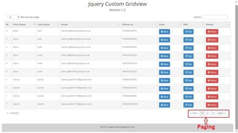 bootstrap templates for gridview jquery gridview custom control by karanpatel7193 codecanyon
