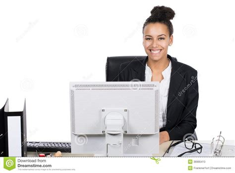 office worker sits in front of the pc stock photos