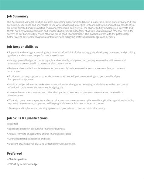 job description sles exles livecareer