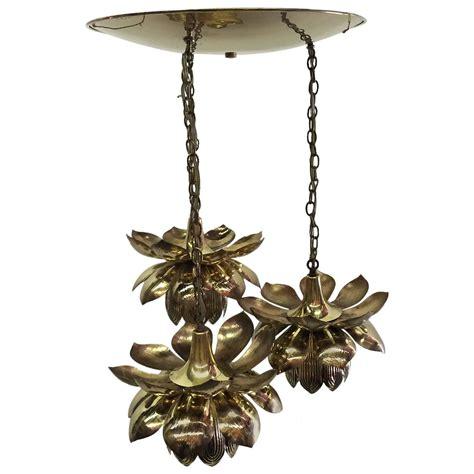 Lotus Pendant Light Three Pendant Light Lotus Brass Chandelier By Feldman At 1stdibs